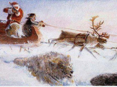 artwork depicting a Santa Claus figure shooting a wolf from his sleigh