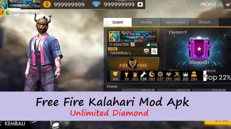 Free Fire (FF) Kalahari Mod Apk Unlimited Diamond 2020