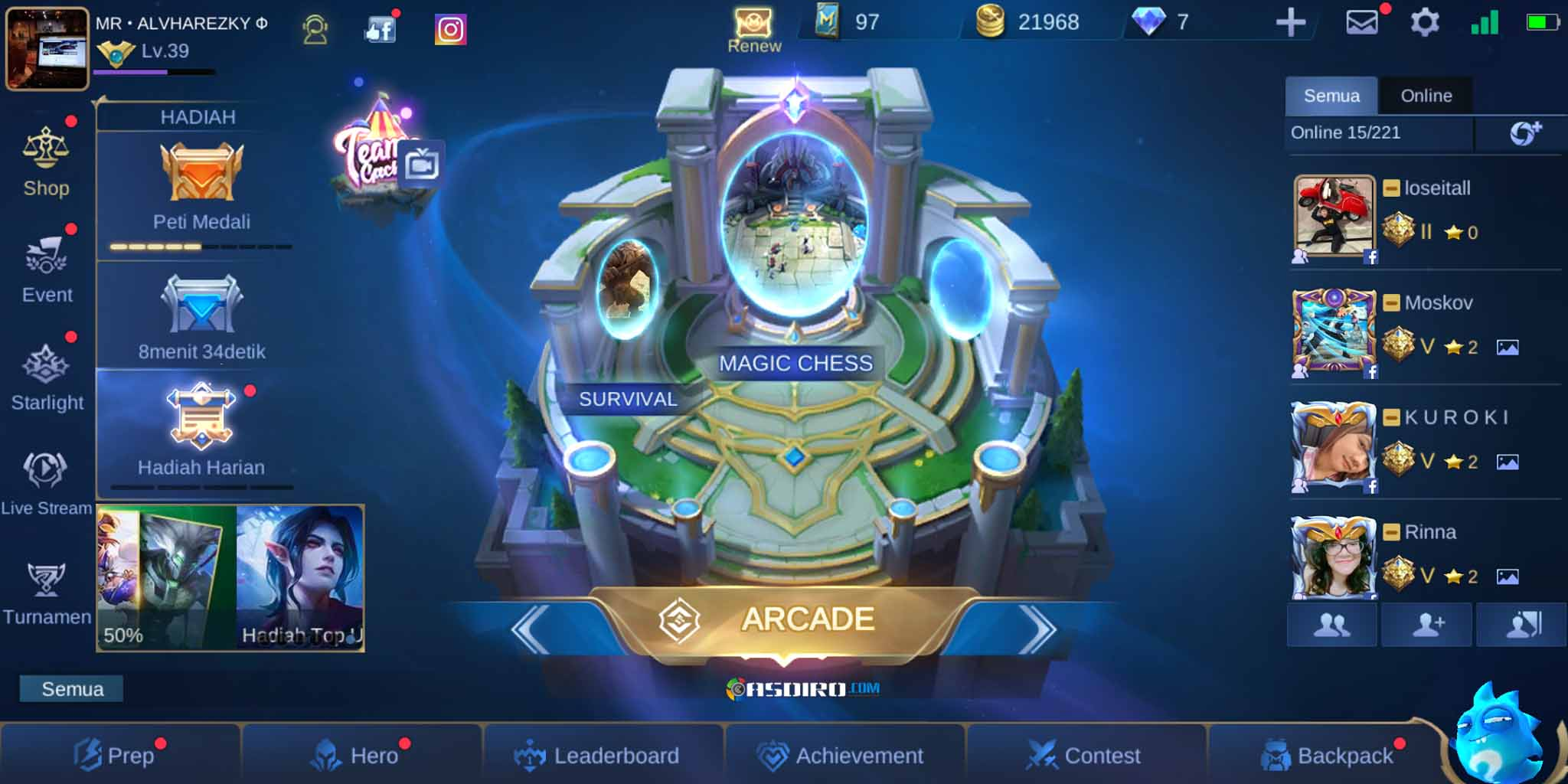 Mode Arcade di Mobile Legends Mod Apk