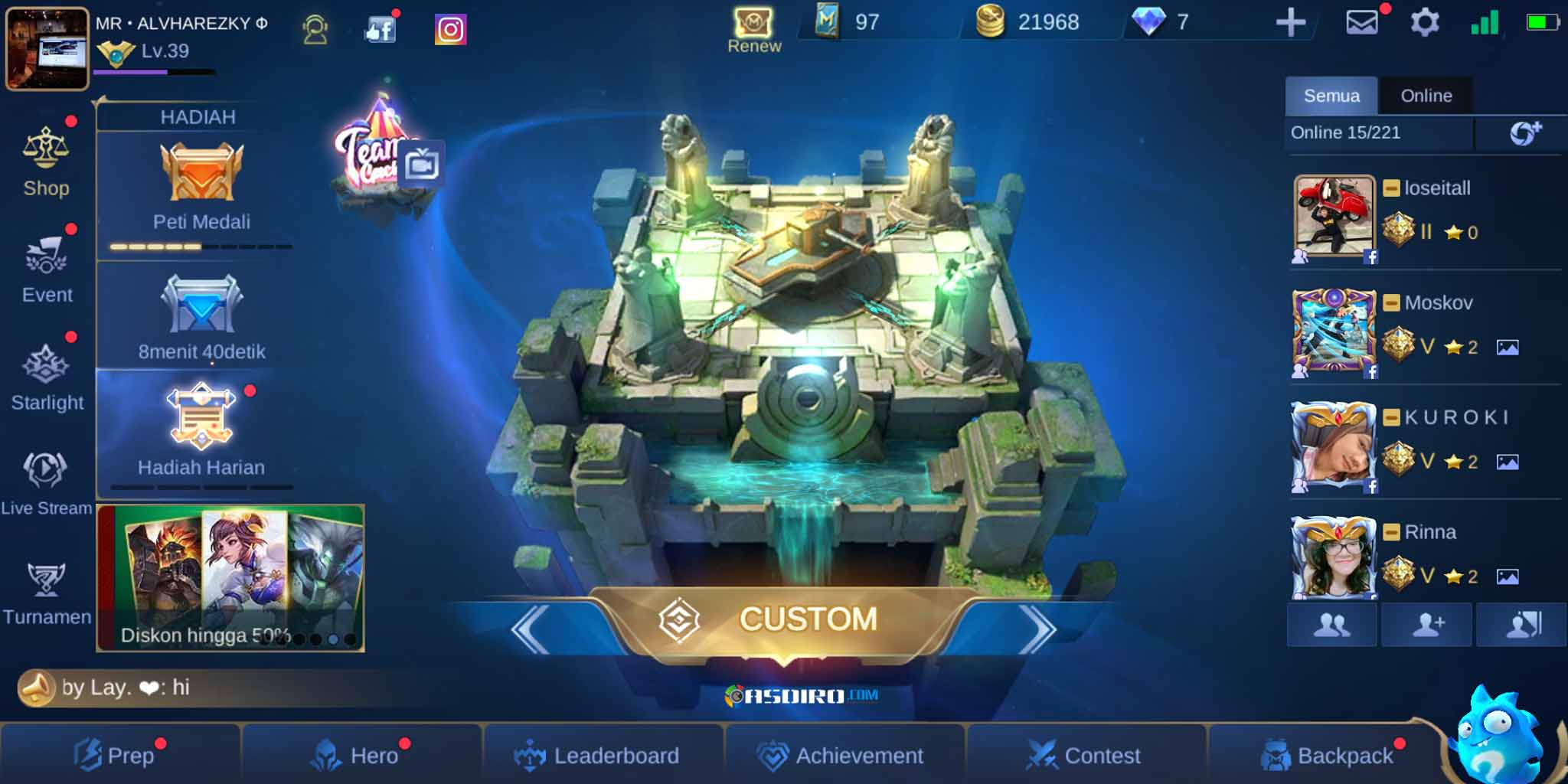 Mode Custom di Mobile Legends Apk