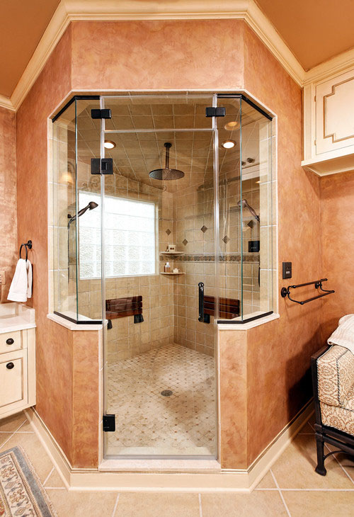 this case design steam shower has many elements of a luxury shower dual handheld showerheads a third ceiling mount showerhead natural stone tile - Luxury Stone Showers