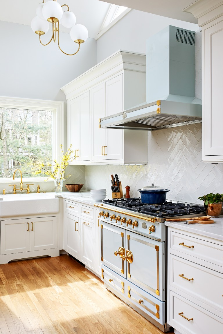 robins egg blue and gold gas range and hood
