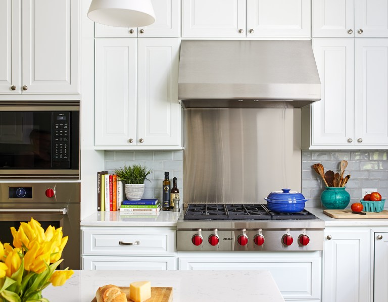 stainless steel gas stovetop range hood and wall oven