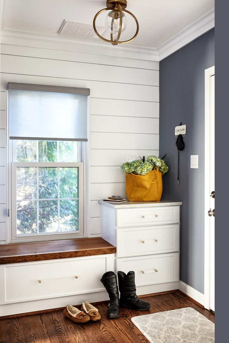 transitional entryway bench with small window