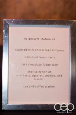 The 2014 Corvette Stingray Canada Reveal — Dessert Station — assorted mini cheesecake lollipops; individual lemon tarts; dark chocolate fudge cake; chef selection of mini tarts, squares, cookies, and biscotti; tea and coffee station