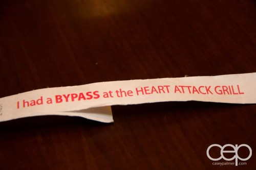The wristband they put on you at the Heart Attack Grill