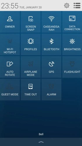 Alcatel OneTouch Idol 2 S — Quick Settings Menu