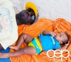 Casey Palmer and Son in Varadero, Cuba on the Beach Chilling