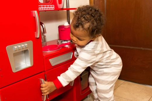 The Week That Was... November 8th - 14th, 2015 — KidKraft Retro Kitchen — Little Man Checking the Freezer Out