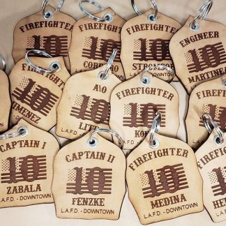 Firefighter shield leather keychain