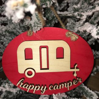 Happy camper ornament red