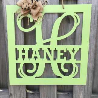 Square Split Monogram Door Hanger
