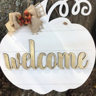 Pumpkin welcome door hanger
