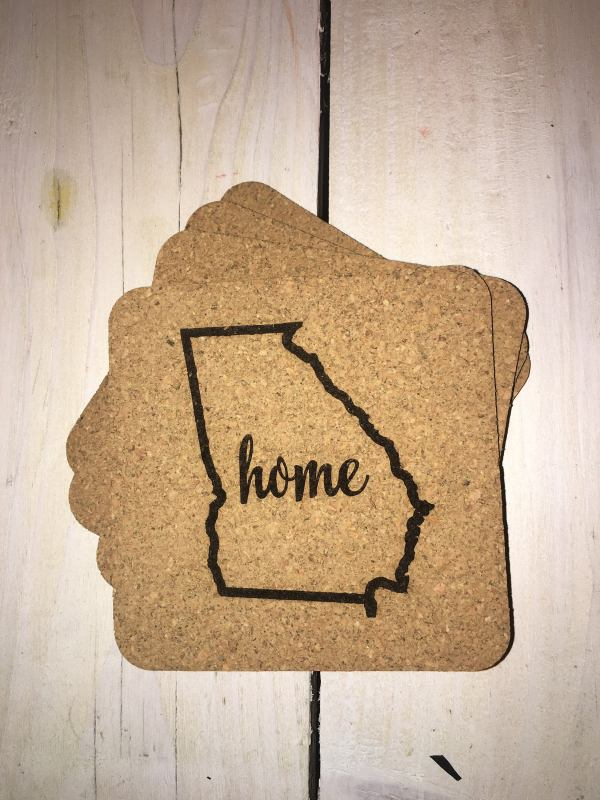 georgia heart cork coasters