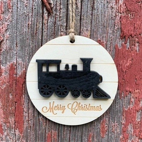 Wood Train Ornament