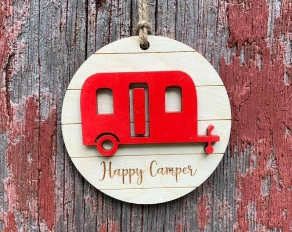 Wood Happy Camper Ornament ornament