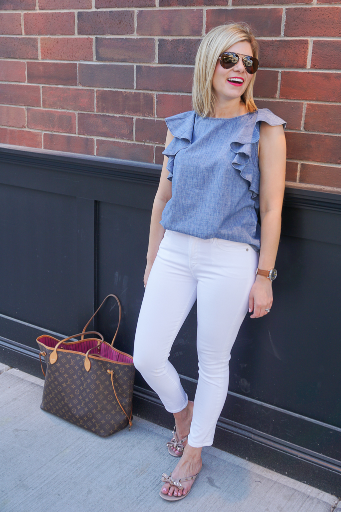 chambray ruffle top and white jeans