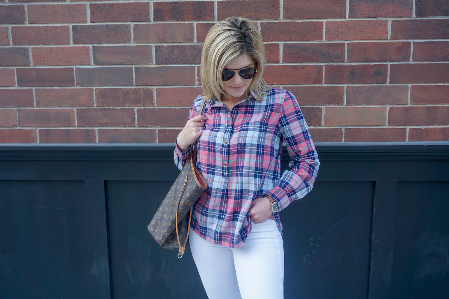 Plaid shirt with white jeans