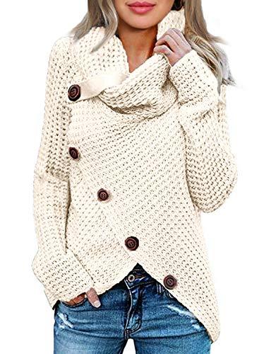Woneta Womens Button Turtle Cowl Neck Asymmetric Hem Wrap Pullover Knit Sweater Tops