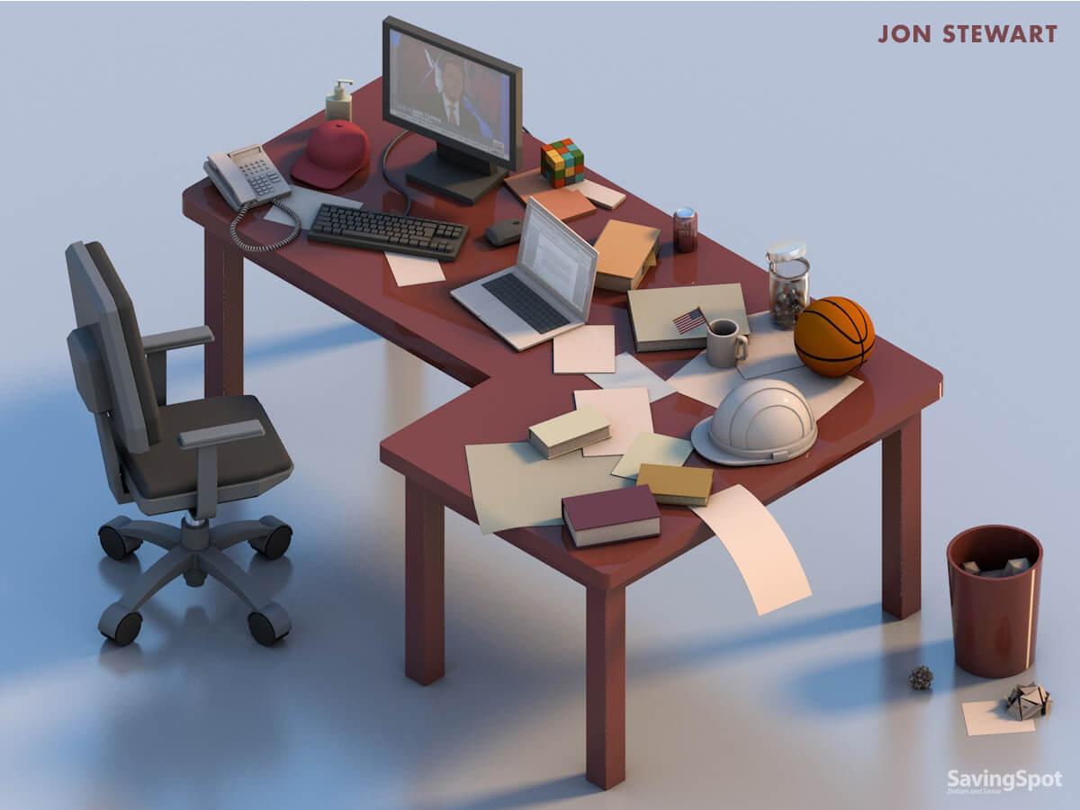 Jon Stewart's desk