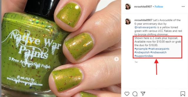 Instagram - Affiliate links in post descriptions