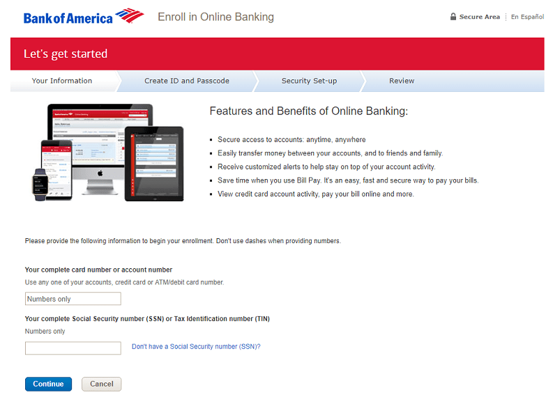 bank america online sign banking