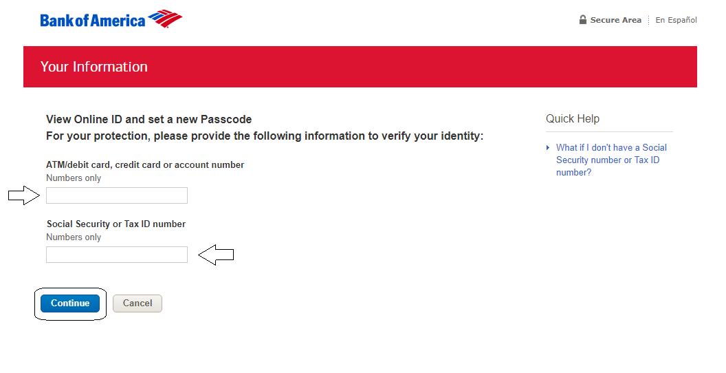 Forgot User ID and Passcode