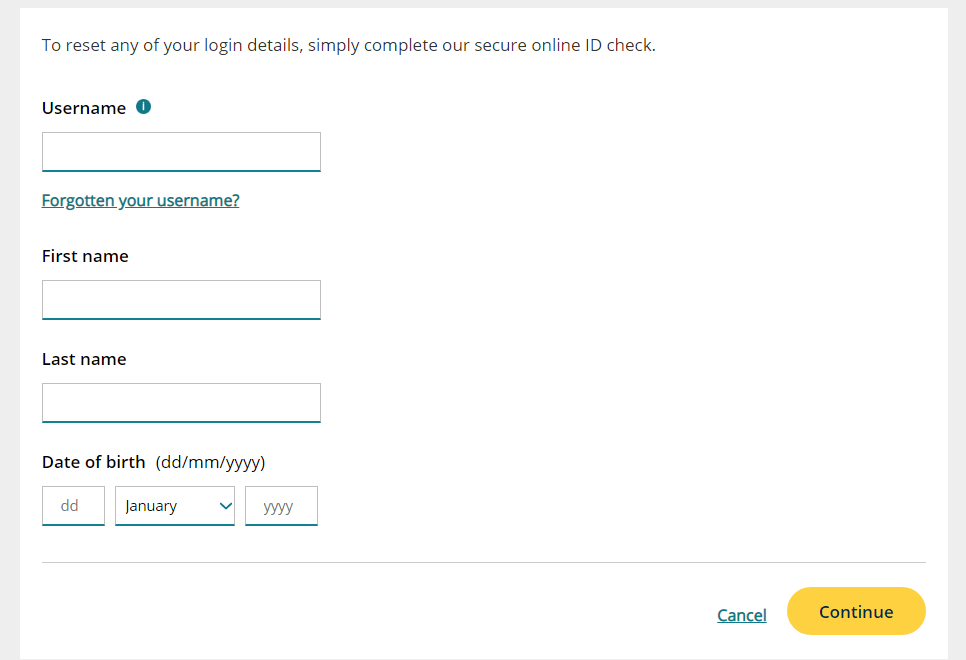MBNA Password retrieval page