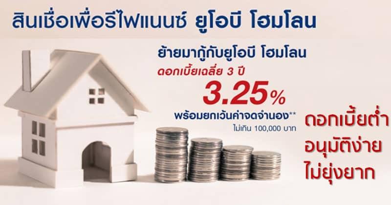 สินเชื่อรีไฟแนนซ์บ้าน ยูโอบี-ดอกเบี้ยต่ำ-UOB-home-loan
