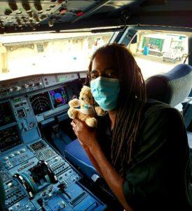 Display Bear Selfie in the cockpit