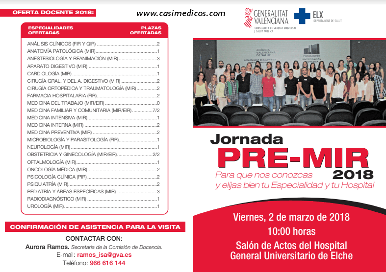 Hospital General Universitario de Elche: Jornada PRE-MIR 2018 @ Hospital General Universitario de Elche | Elche | Comunidad Valenciana | Spain