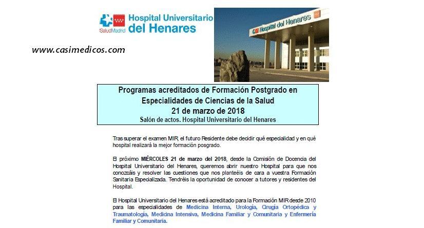 Hospital del Henares: JORNADA DE PUERTAS ABIERTAS PARA RESIDENTES 2018 @ Hospital del Henares | Coslada | Comunidad de Madrid | Spain