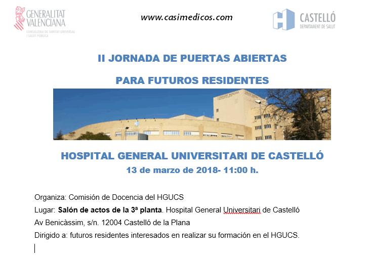 Jornada de Puertas Abiertas para futuros residentes en el Hospital General de Castelló (MIR, FIR y EIR). @ Hospital General Universitario de Castellón    Castelló de la Plana   Comunidad Valenciana   Spain