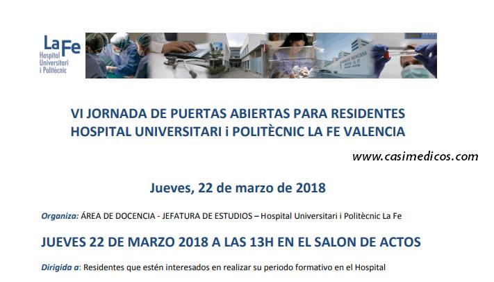 VI JORNADA DE PUERTAS ABIERTAS PARA RESIDENTES HOSPITAL UNIVERSITARI I POLITÈCNIC LA FE VALENCIA @ Hospital La Fe | València | Comunidad Valenciana | Spain