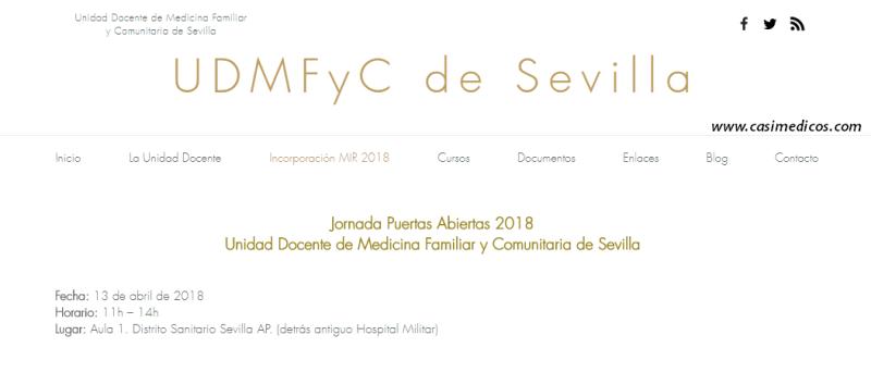 Jornada Puertas Abiertas 2018 Unidad Docente de Medicina Familiar y Comunitaria de Sevilla