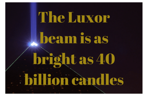 luxor beam in vegas at night with light power statistic text