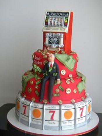 An image of a famous Jackpot Slots themed cake