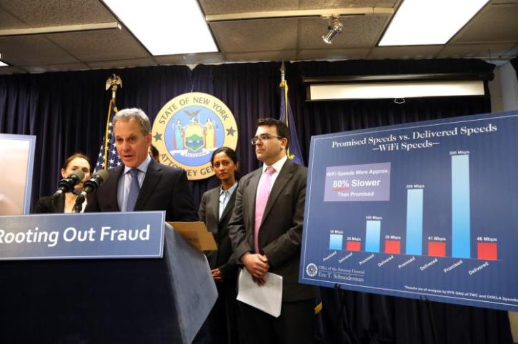 State of New York's Attorney General addressing WiFi speeds