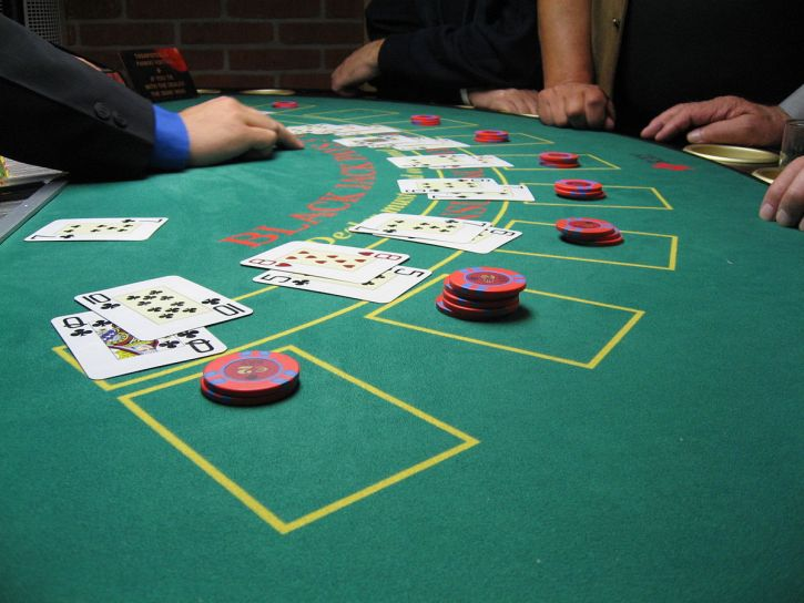 In-game action from a live blackjack card game