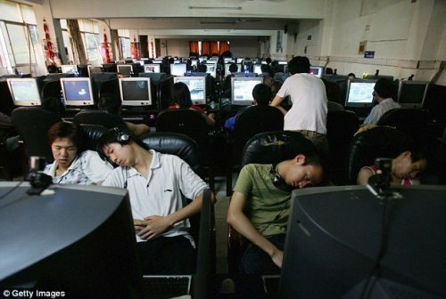 Chinese gamers sleeping
