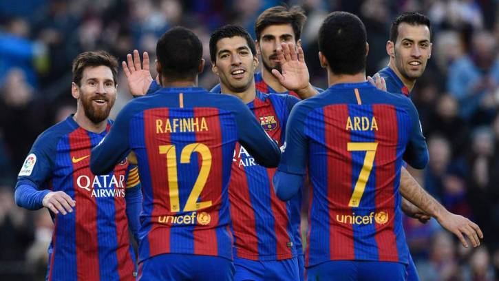Players from the FC Barcelona soccer team