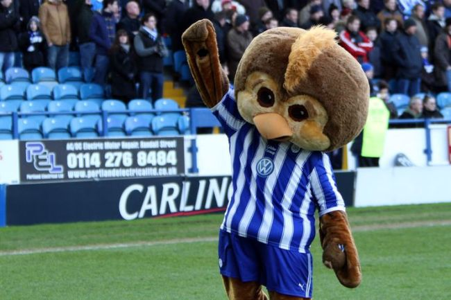 The Sheffield Wednesday mascot Ozzie the Owl posing before kick off