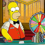 homer simpson next to poker chips and wheel in casino