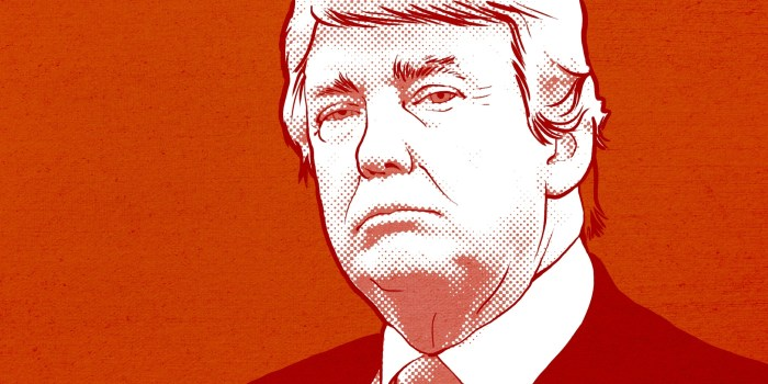 illustration of donald trump in orange