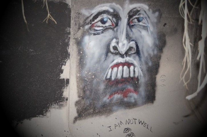 Art from a tunnel that shows the suffering from people living there