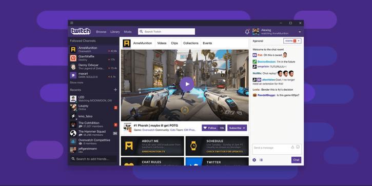 The Twitch desktop app homepage