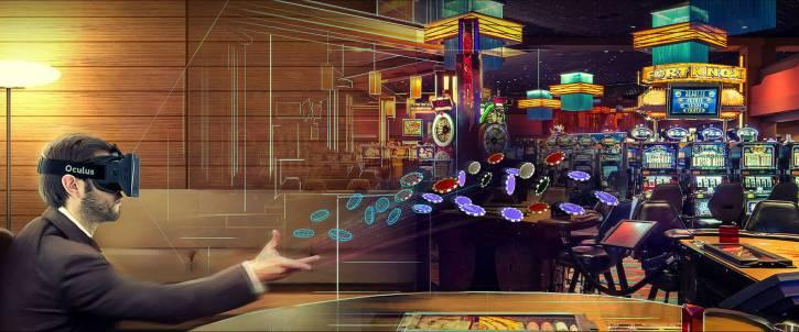An action shot of Virtual Reality gambling