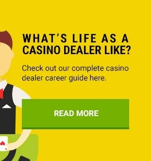 casino dealer on yellow background