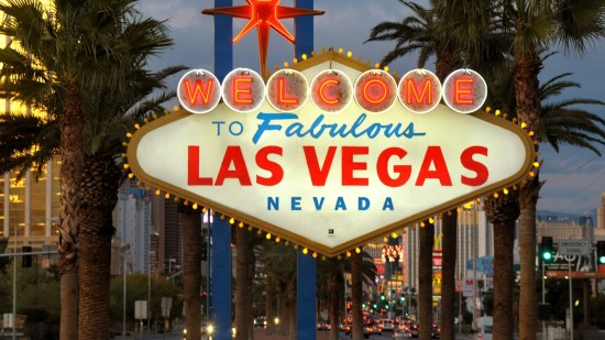 A welcome to Las Vegas sign at the beginning of the strip