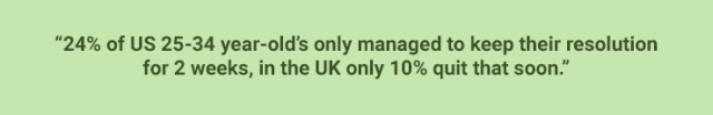 quote showing statistic about UK and USA new year resolutions on green background